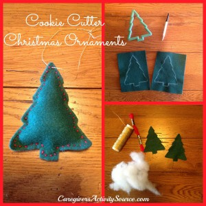 collage of materials needed to make felt Christmas ornaments