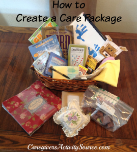 care package items in a basket